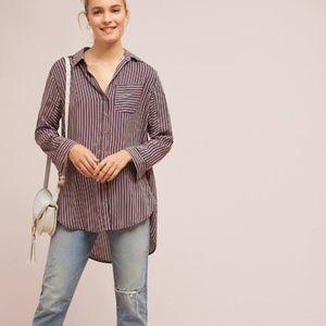 ANTHROPOLOGIE Adelaide Poplin Striped Shirt {W41}